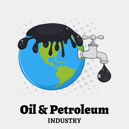 disaster supplies: Oil Pouring Over Earth With Faucet And Petroleum Drop Design. Illustration With Background And Text Stock Photo