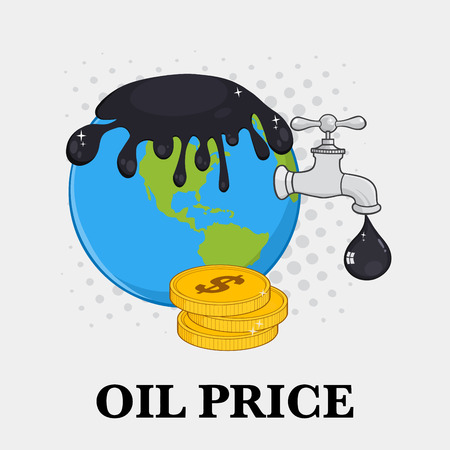 disaster supplies: Oil Pouring Over Earth With Faucet Petroleum Drop And Money. Illustration With Background And Text Oil Price