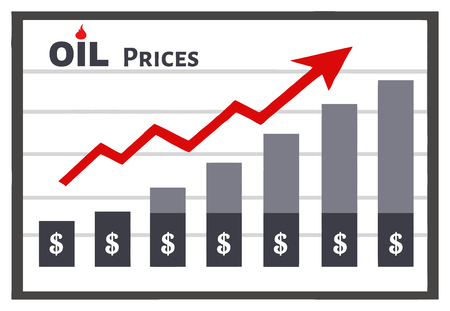 Board Graph Chart For Petroleum Or Oil Growth Dollar Prices