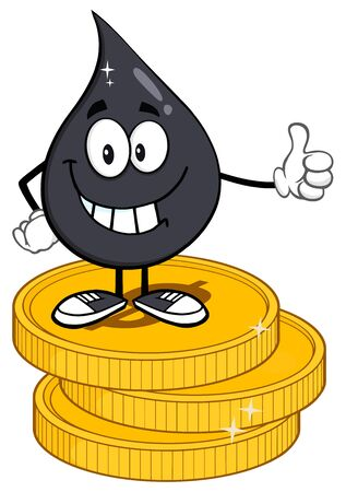 coin: Smiling Petroleum Or Oil Drop Cartoon Character Giving A Thumb Up Stack Of USD Dollar Gold Coins Stock Photo