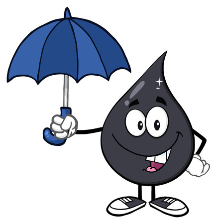 produce energy: Petroleum Or Oil Drop Cartoon Character Under An Umbrella Protection