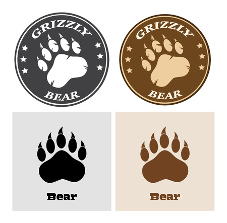 Bear Paw Print Circle Logo Design 2. Collection Set Stock Photo