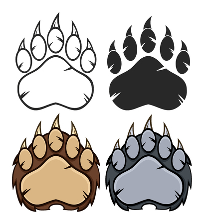 Bear Paw Logo Design. Collection Set