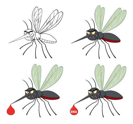 infect: Mosquito Cartoon Character Flying. Collection Set