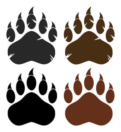 Bear Paw With Claws. Collection Set Banque d'images