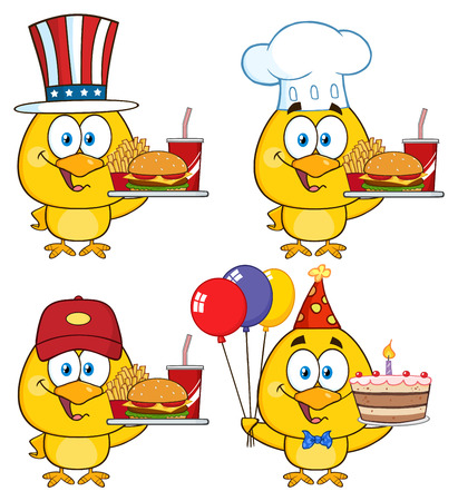 birds cartoon: Yellow Chick Cartoon Character 5. Collection Set Stock Photo