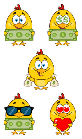 funky: Yellow Chick Cartoon Character 6. Collection Set Stock Photo