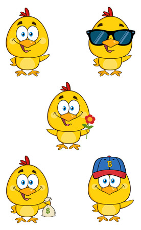 chick: Yellow Chick Cartoon Character Stock Photo