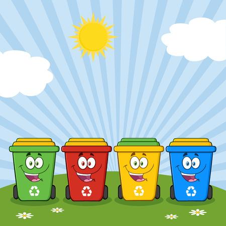 reciclable: Cuatro caracteres de color papeleras de reciclaje de dibujos animados en un soleado Colina Foto de archivo