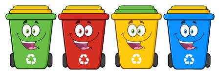 4 つのカラーのごみ箱マンガ キャラクター 写真素材