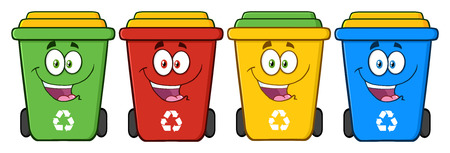 earth planet: Four Color Recycle Bins Cartoon Character