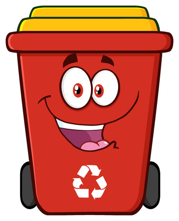 Happy Red Recycle Bin Cartoon Character