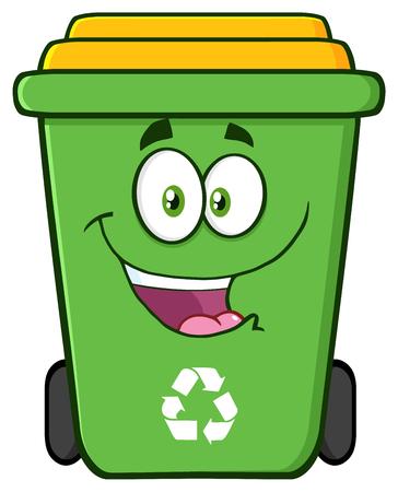Heureux caractère vert Corbeille Cartoon Banque d'images - 55651360