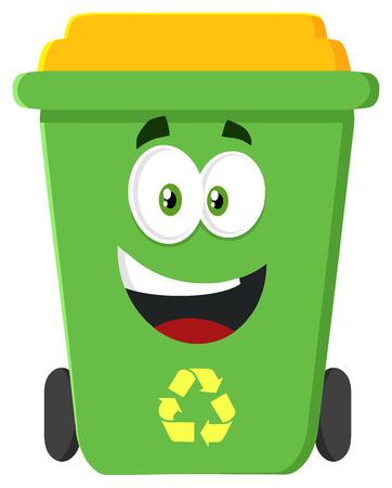 recycle bin: Carácter feliz verde papelera de reciclaje de diseño de dibujos animados Modern Flat Foto de archivo