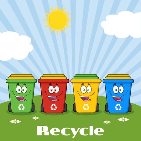 ecosistema: Cuatro caracteres de color papeleras de reciclaje de dibujos animados en un soleado Colina Con texto de reciclaje