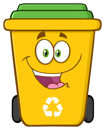 Happy Yellow Recycle Bin Cartoon Character Stockfoto
