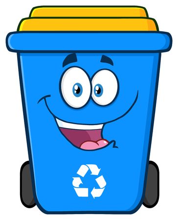 planeta tierra feliz: Carácter feliz azul papelera de reciclaje de la historieta