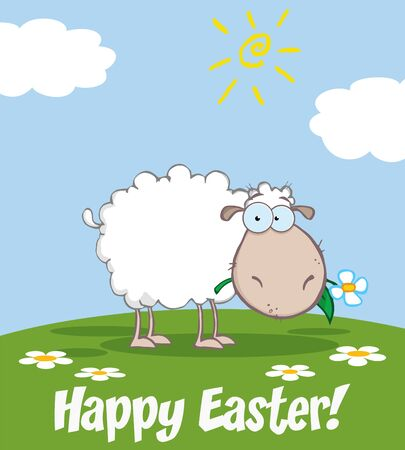 spring coat: White Sheep Cartoon Character Eating A Flower. Illustration Greeting Card