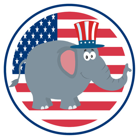 republican elephant: Republican Elephant Cartoon Character With Uncle Sam Hat Over USA Flag Label. Illustration Flat Design Stock Photo