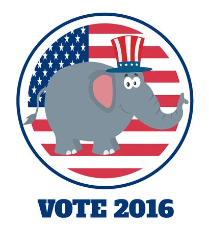 republican elephant: Republican Elephant Cartoon Character With Uncle Sam Hat Over USA Flag Label And Text