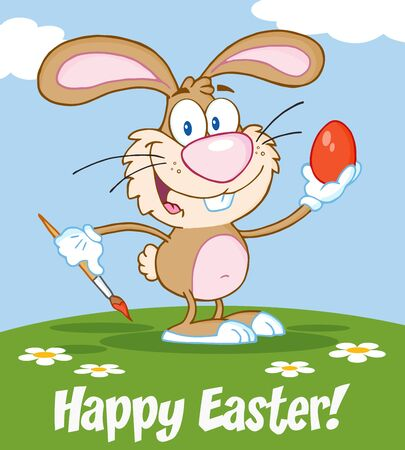 brown egg: Happy Brown Rabbit Painting Easter Egg. Illustration Greeting Card