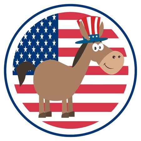 democratic donkey: Democrat Donkey Cartoon Character With Uncle Sam Hat Over USA Flag Label