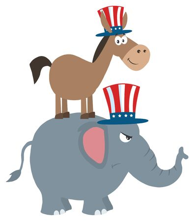 political: Smiling Donkey Democrat Over Angry Elephant Republican. Illustration Flat Design Style Isolated On White Stock Photo