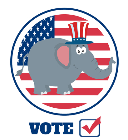 uncle sam hat: Elephant Cartoon Character With Uncle Sam Hat Over USA Flag Label And Text Stock Photo