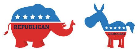 campaign promises: Political Elephant Republican Vs Donkey Democrat