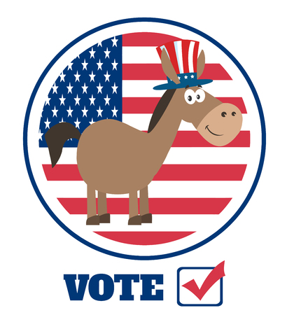 campaign promises: Democrat Donkey Cartoon Character With Uncle Sam Hat Over USA Flag Label With Text Vote