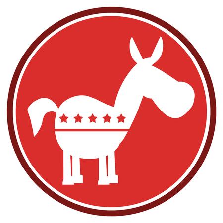campaign promises: Democrat Donkey Red Circle Label. Illustration Flat Design Style