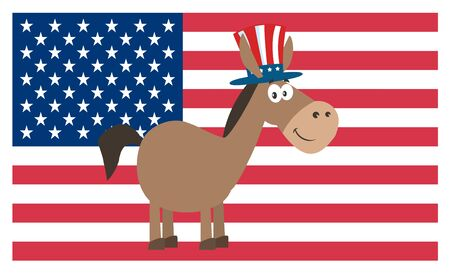 campaign promises: Democrat Donkey Cartoon Character With Uncle Sam Hat Over USA Flag