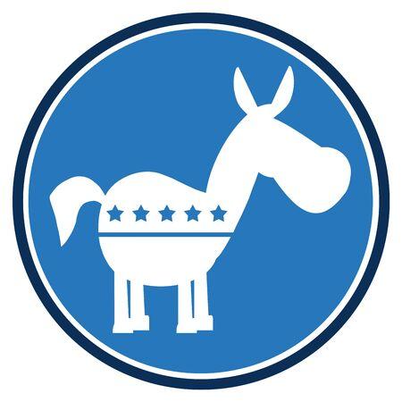 campaign promises: Democrat Donkey Blue Circle Label. Illustration Flat Design