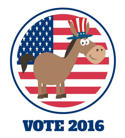 campaign promises: Democrat Donkey Cartoon Character With Uncle Sam Hat Over USA Flag Label With Text Stock Photo