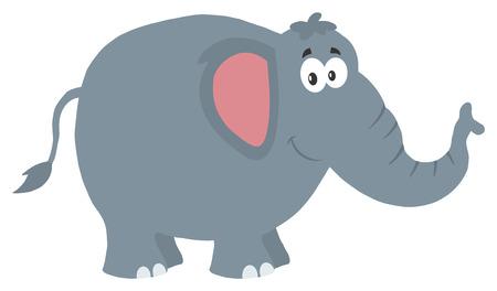 코끼리 만화 캐릭터 미소. 그림 평면 디자인 스타일 화이트 절연