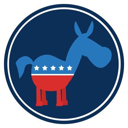campaign promises: Democrat Donkey Cartoon Blue Circle Label.  Illustration Flat Design Style