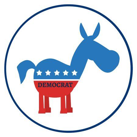 Democrat Donkey Cartoon Character Circle Label. Illustration Flat Design Style Stock Photo
