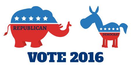democratic donkey: Political Elephant Republican Vs Donkey Democrat. Illustration Flat Design Style Stock Photo