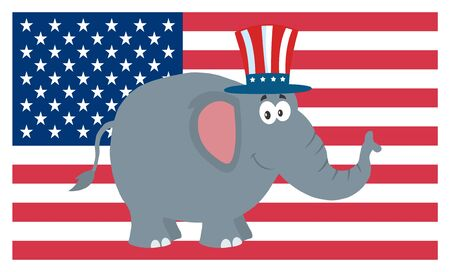 republican elephant: Republican Elephant Cartoon Character With Uncle Sam Hat Over USA Flag Stock Photo