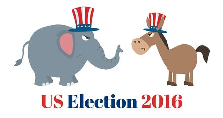 political: Angry Political Elephant Republican Vs Donkey Democrat. Illustration Flat Design Style Isolated On White With Text