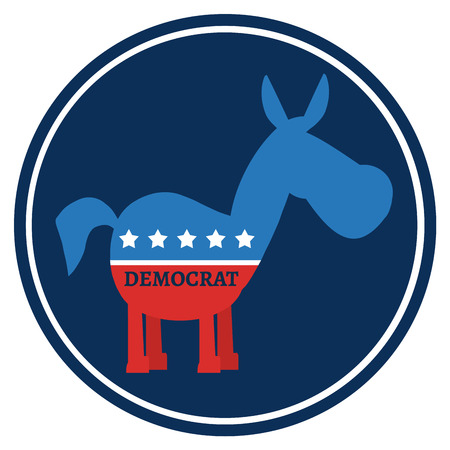 campaign promises: Democrat Donkey Cartoon Blue Circle Label. Illustration Flat Design Style Stock Photo