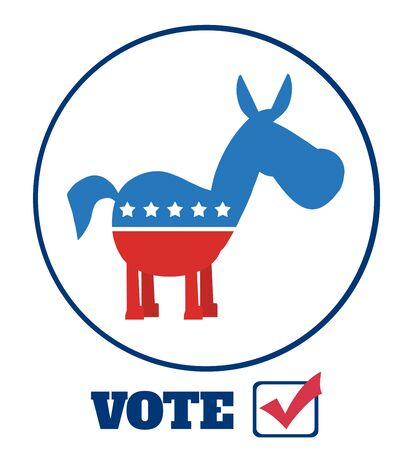 campaign promises: Democrat Donkey Cartoon Character Circle Label With Text Vote. Illustration Flat Design Style