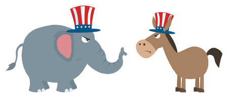 elephant angry: Angry Political Elephant Republican Vs Donkey Democrat Stock Photo