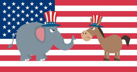 republican elephant: Angry Political Elephant Republican Vs Donkey Democrat Over USA Flag Stock Photo