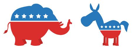 Political Elephant Republican Vs Donkey Democrat. Illustration Flat Design Style Archivio Fotografico