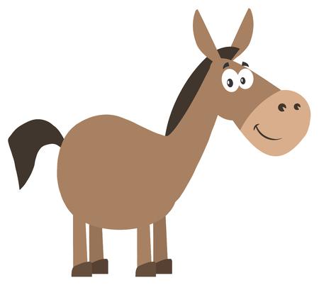 democratic donkey: Smiling Donkey Cartoon Character. Illustration Flat Design Style