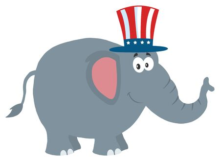 republican elephant: Republican Elephant Cartoon Character With Uncle Sam Hat. Illustration Flat Design Style Isolated On White
