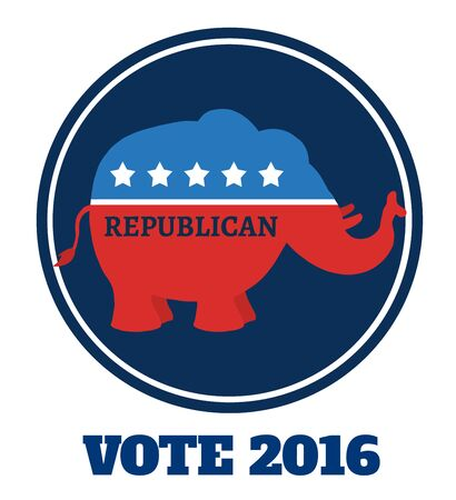 republican elephant: Republican Elephant Cartoon Blue Circle Label With Text. Illustration Flat Design Style