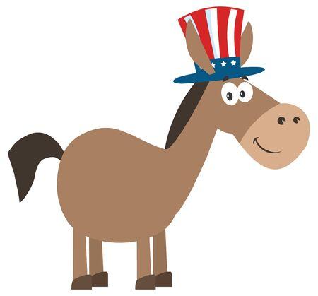 campaign promises: Democrat Donkey Cartoon Character With Uncle Sam Hat.Illustration Flat Design Style Stock Photo