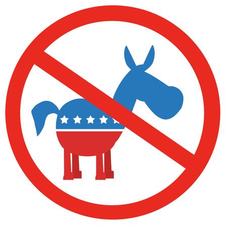 promising: Stop Democrats Circle Label. Illustration Flat Design Style